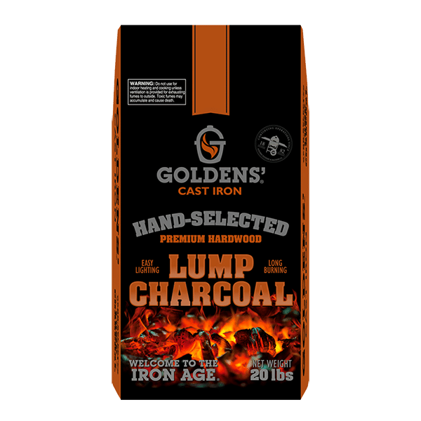 premium hardwood lump charcoal goldens cast iron