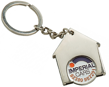 Promotional House Shaped Trolley Coin Keyrings Printed