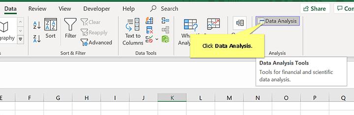 Anova Step #2 Click Data Analysis