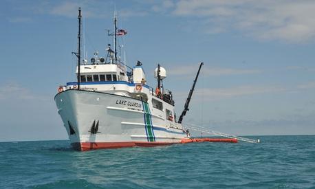 The U.S. Environmental Protection Agency research vessel Lake Guardian transits through Lake Michigan.