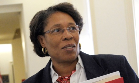 "Rep. Marcia Fudge, D-Ohio, introduced a resolution ""expressing the sense of the House of Representatives supporting federal employees."""