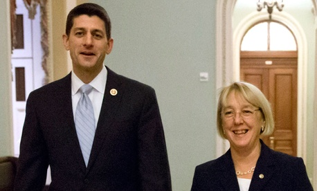 """One of the most difficult challenges we faced as we worked through this, was the issue of federal employees and military,"" said Sen. Patty Murray, D-Wash., during a press conference with Rep. Paul Ryan, R-Wis."