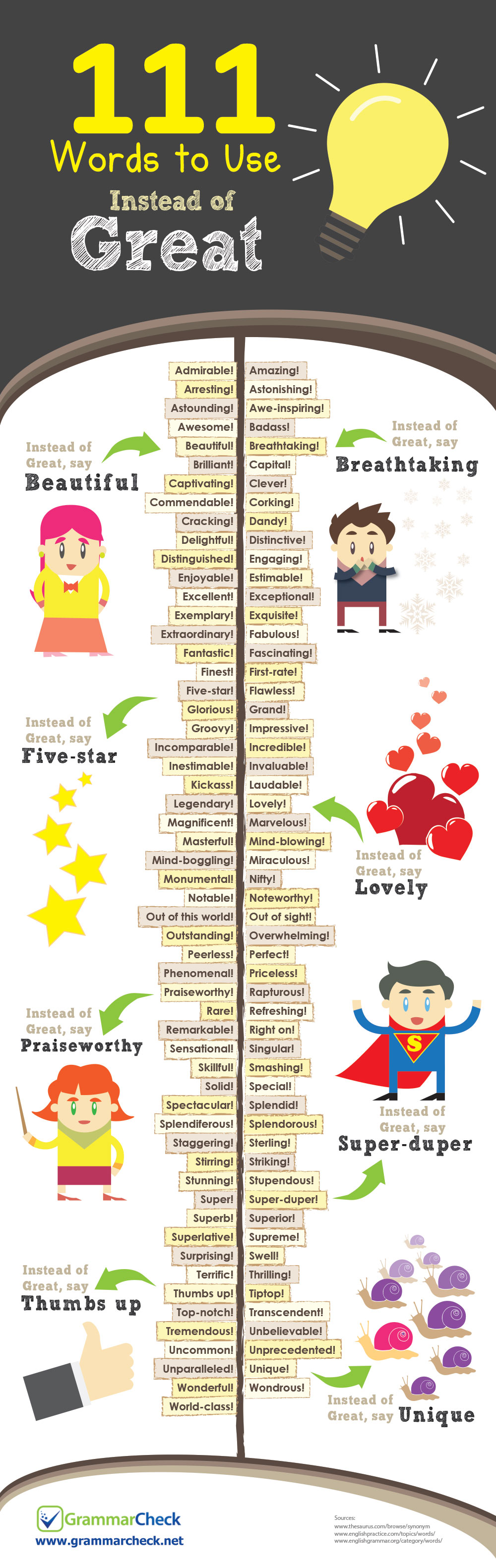 111 Words to Use Instead of Great (Infographic)