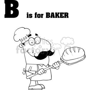 Royalty-Free Alphabet letter B baker with bread and