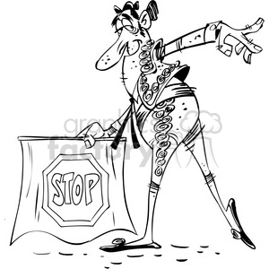 Royalty-Free black white cartoon bullfighter matador