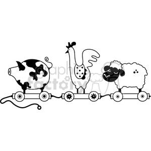 pull toy farm animal train