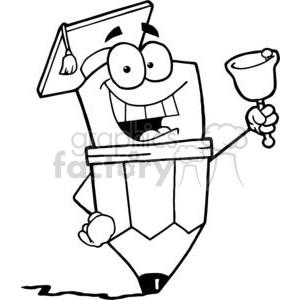 Royalty-Free Graduate Pencil Cartoon Character Ringing A