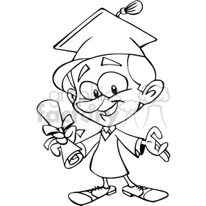 guy graduating cartoon in black and white