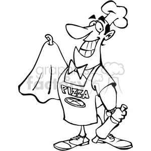 cartoon pizza maker in black and white