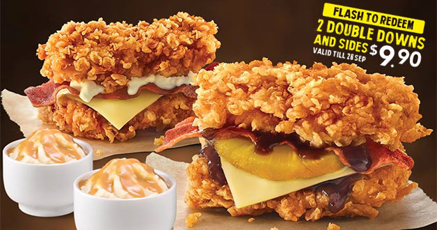 KFC Flash Deal 2 Double Down Burgers and Sides for just S