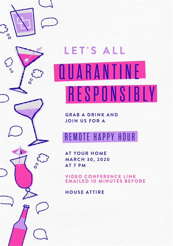 quarantine responsibly invitations