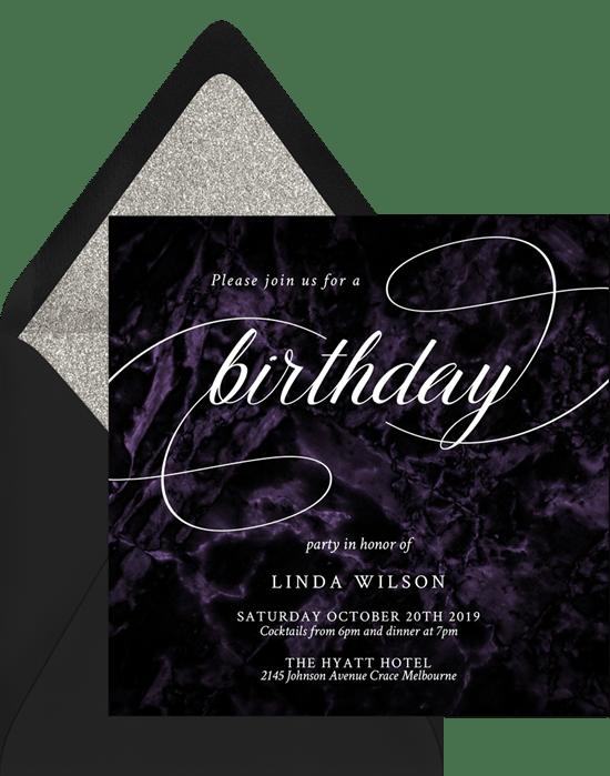 black velvet invitations in purple
