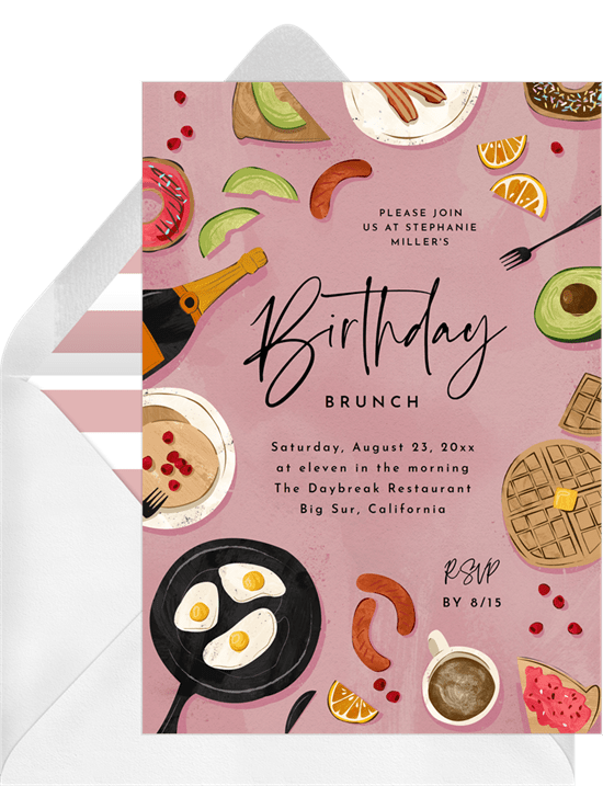 but first brunch invitations in pink