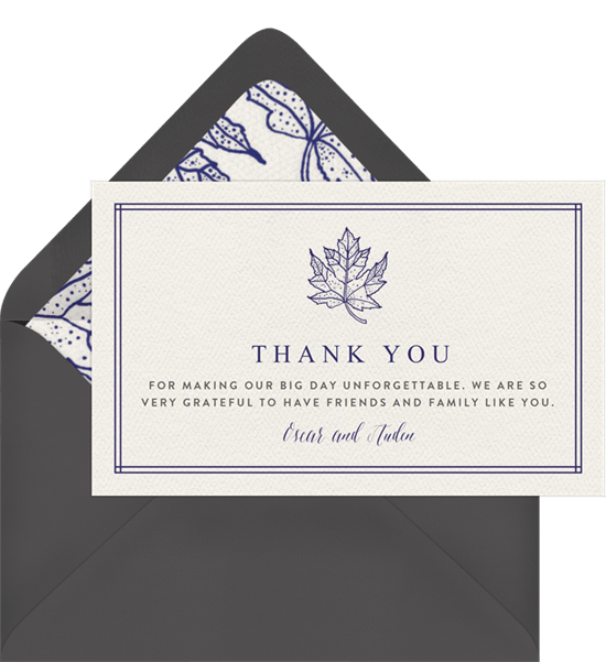 Classic Maple Leaf Thank You Notes in Creme | Greenvelope.com