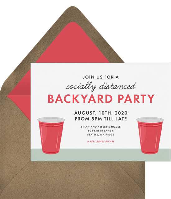 socially distanced invitations in red