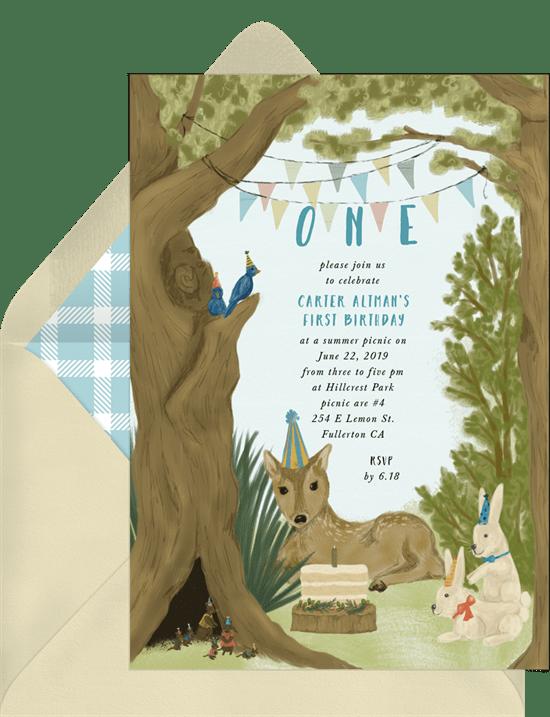 woodland first birthday invitations