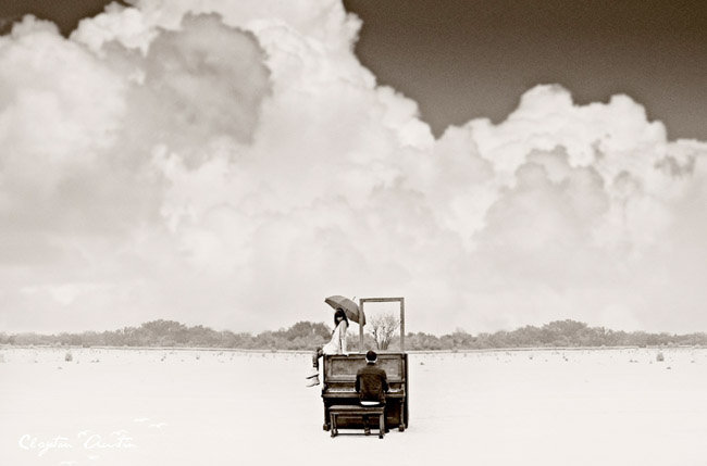 piano on the beach couple in love