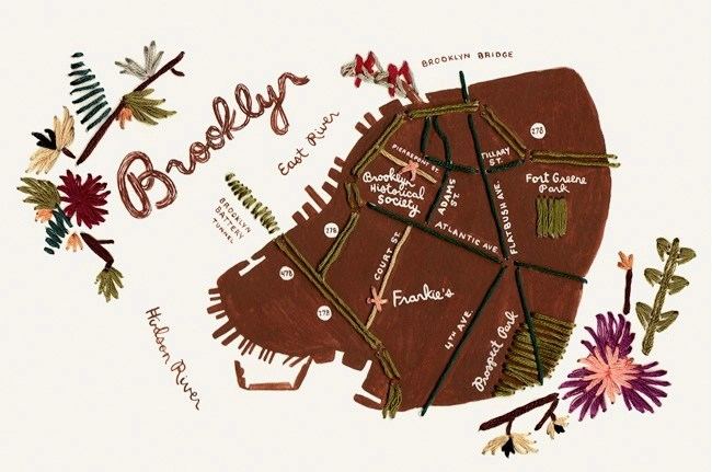 hand sewn map of brooklyn wedding invite