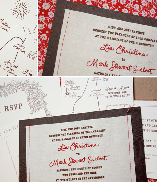 sewn wedding invitations bird and banner