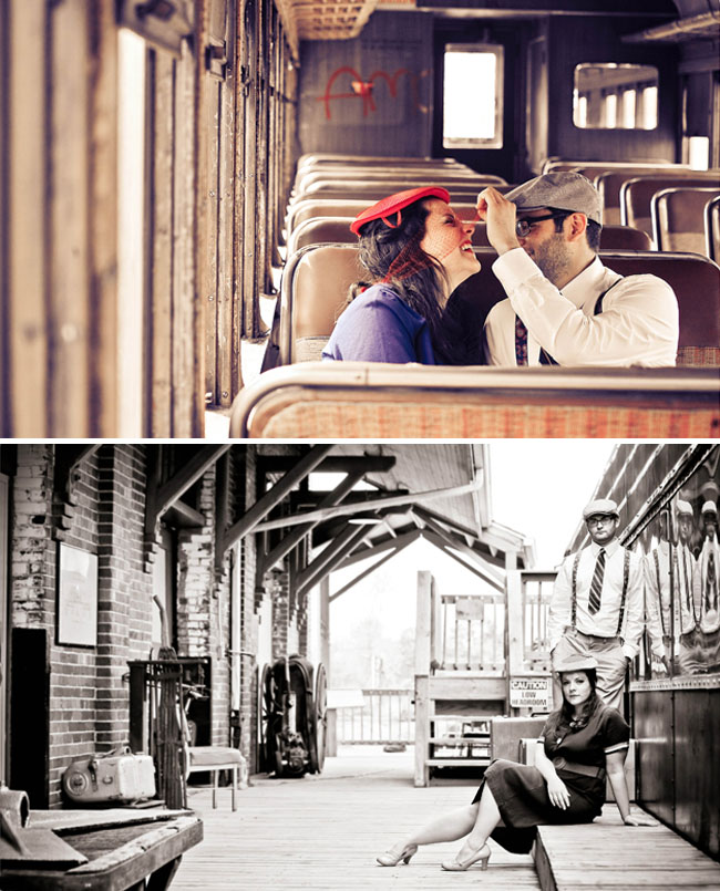 vintage train engagement photos