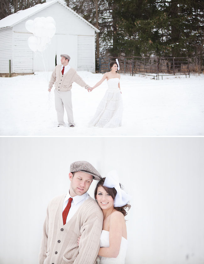 winter bride and groom white balloons