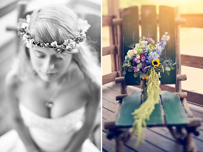 bride with flower halo