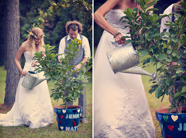 watering tree during wedding ceremony