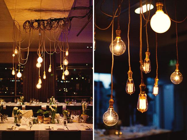 hanging lightbulbs wedding decor