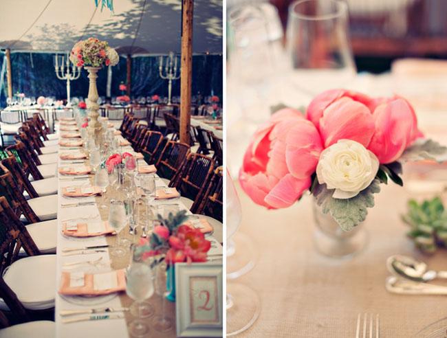 peony wedding flowers table