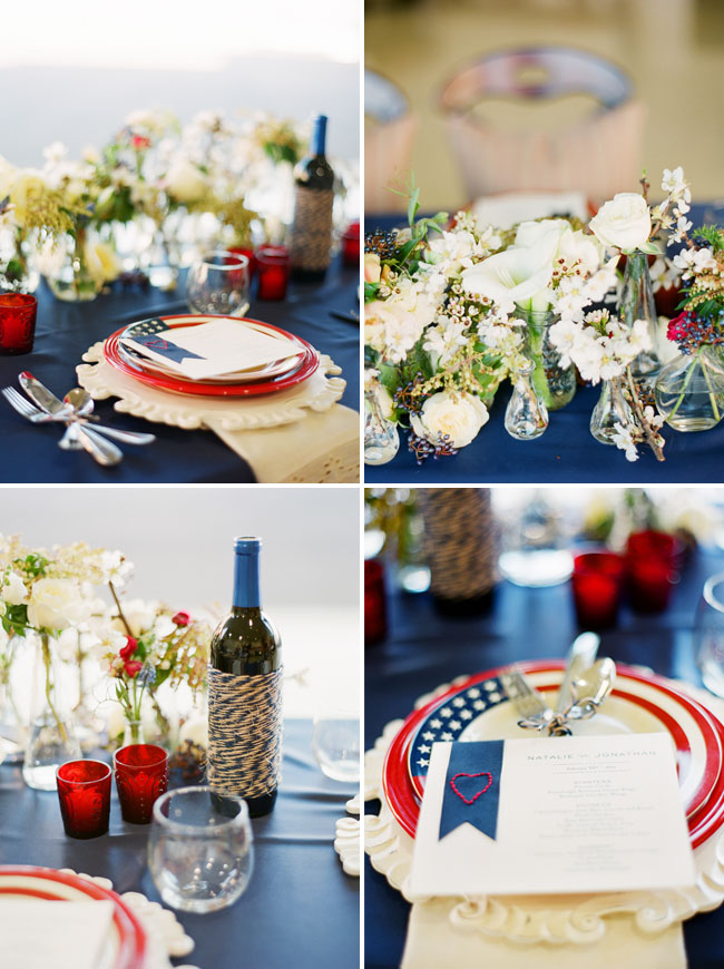 red white blue table decoration