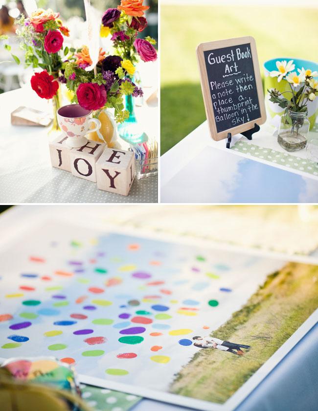 wedding guestbook fingerprint balloons up wedding