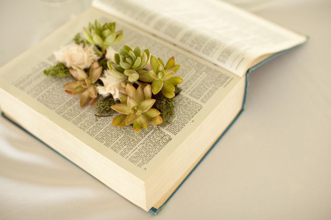 diy book planter succulents moss vintage fabric flowers