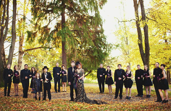 bridal party in all black