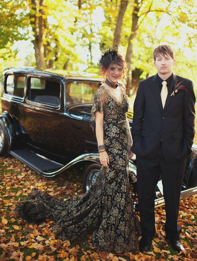 bride in black wedding dress