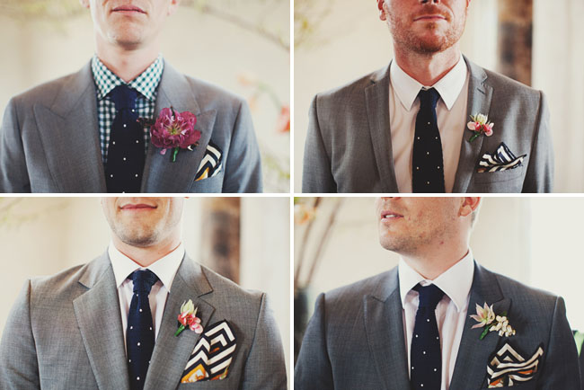 groomsmen in gray and black ties