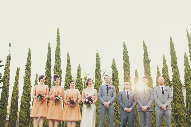 bridesmaids in peach