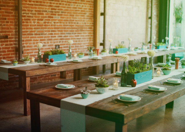 reception space, wood tables