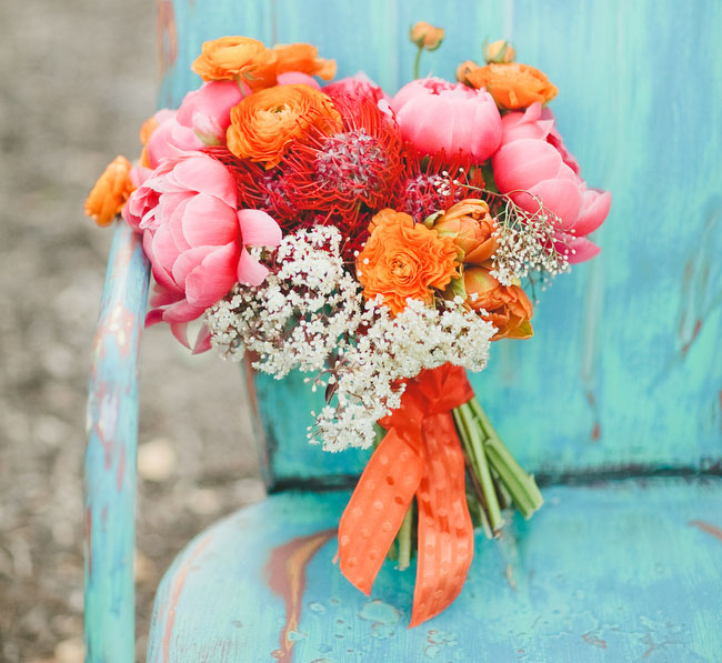 peony and orange bouquet