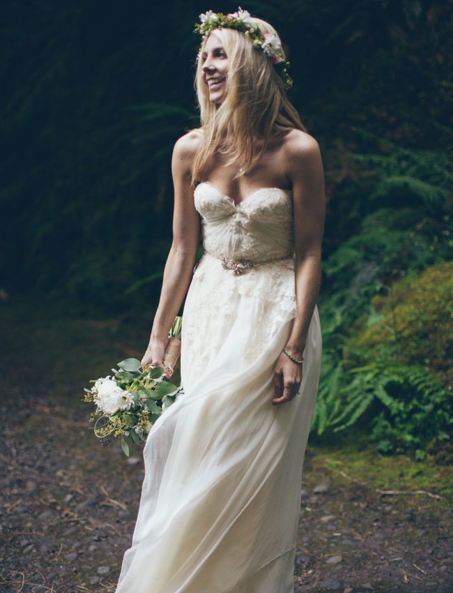 bohemio cascada novia