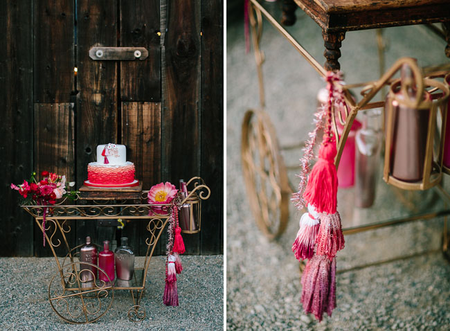 cake cart with tassels