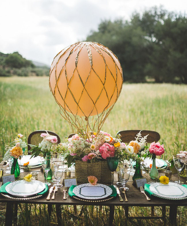 hot air balloon table centerpiece