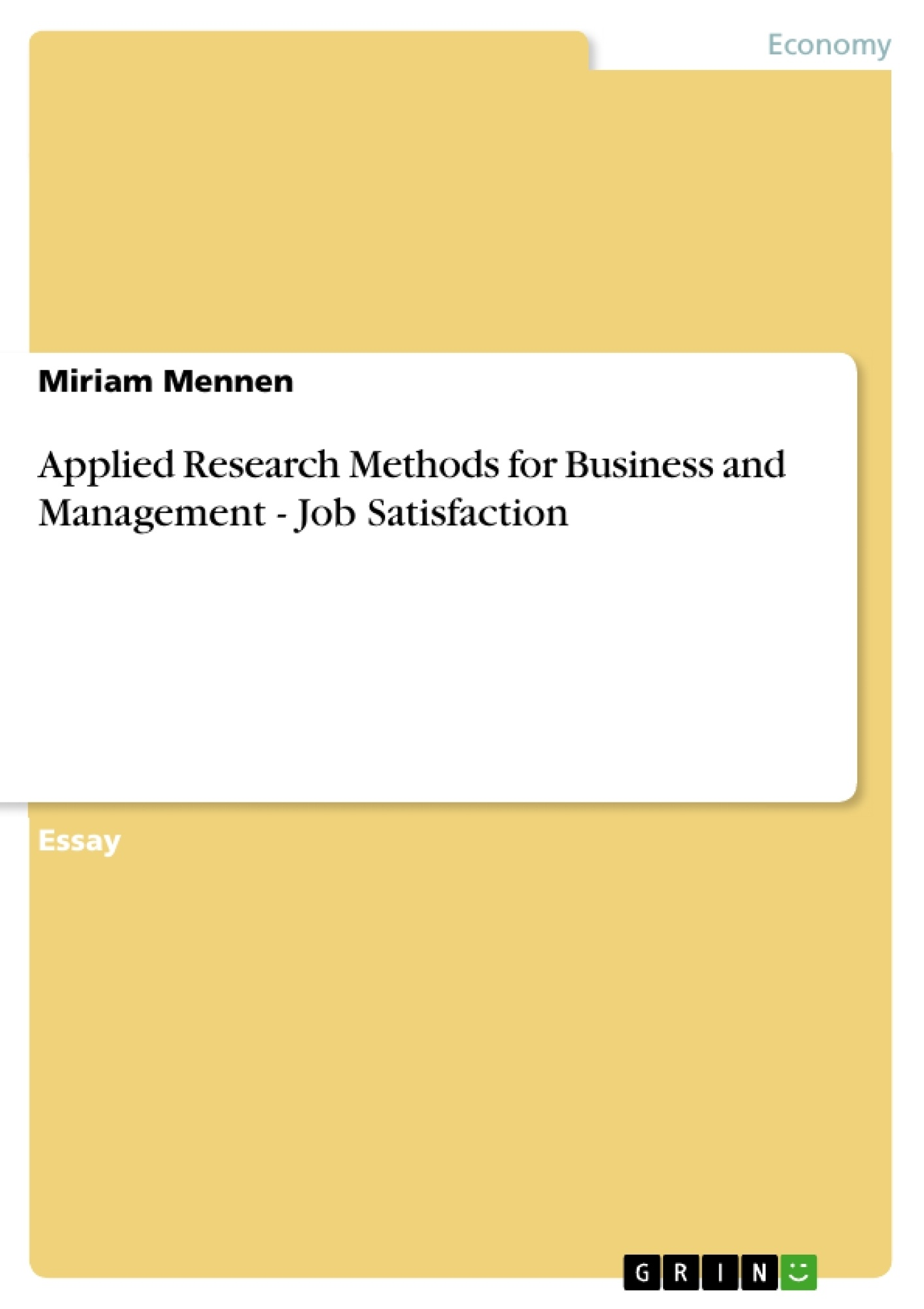 Essay On Business Management Applied Research Methods For Business
