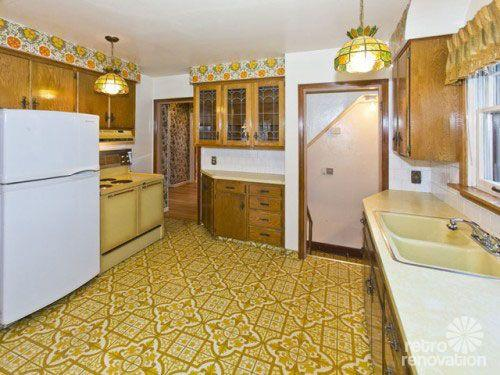 linoleum kitchen flooring cabinets st petersburg crazy ugly floors in the 70s groovy history keeping with times decor was anything but plain available a wide variety of patterns and colors schemes that