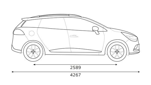 Technische fiche van CLIO Grandtour: afmetingen, koffer