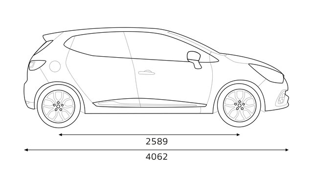CLIO R.S. technical data sheet: performance & dimensions