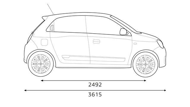 Renault TWINGO: inhoud bagageruimte, afmetingen en