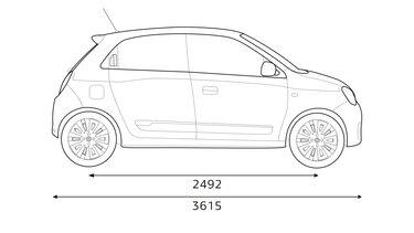 Renault TWINGO: inhoud bagageruimte, afmetingen en verbruik
