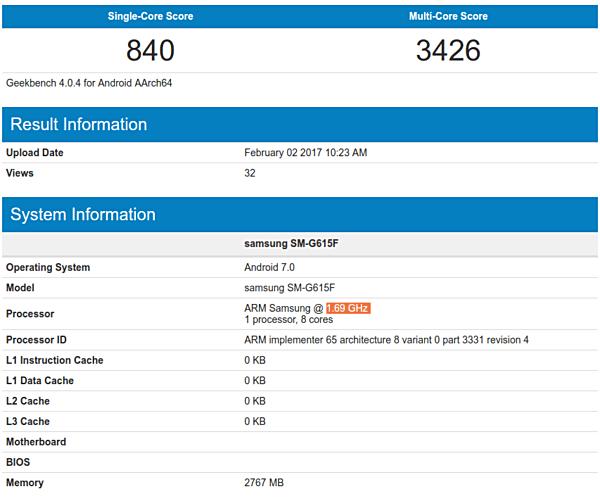 new samsung SM-G615F Geekbench