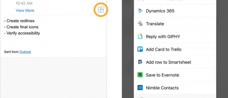 Outlook for iOS now supports add-ins, they're coming to