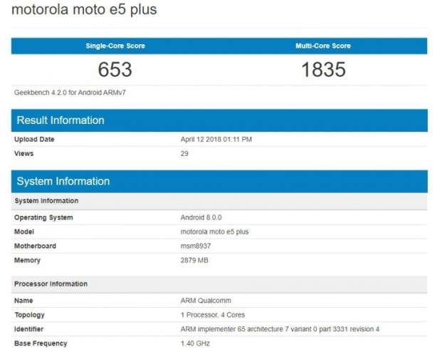 Moto E5 Plus arrives on Geekbench with Snapdragon 430